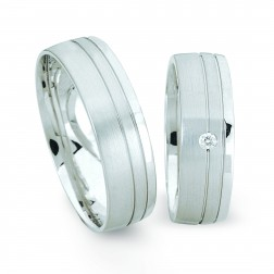 Trouwringen witgoud 1 diamant €691.-